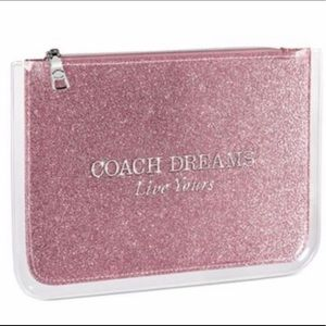 COACH DREAMS PINK GLITTER COSMETIC POUCH NWT